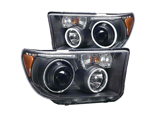 CCFL Halo Projector Headlights; Black Housing; Clear Lens (07-13 Tundra w/o Level Adjuster)