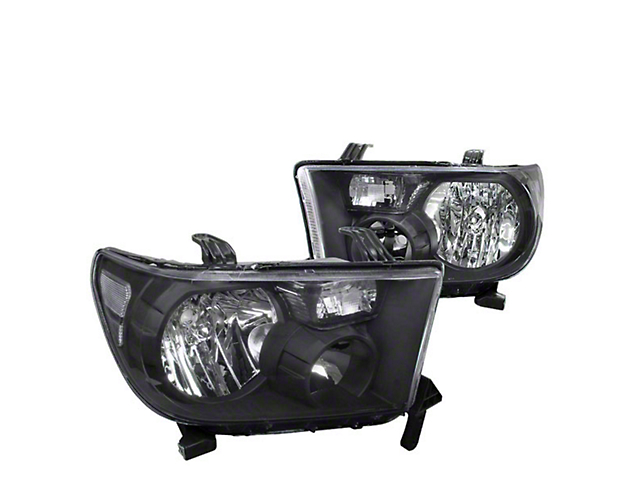 Euro Crystal Headlights; Black Housing; Clear Lens (07-13 Tundra w/o Level Adjuster)