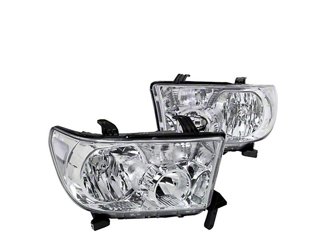 Euro Crystal Headlights; Chrome Housing; Clear Lens (07-13 Tundra w/o Level Adjuster)