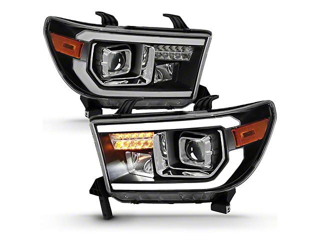 Light Bar Projector Headlights; Black Housing; Clear Lens (07-13 Tundra w/o Level Adjuster)