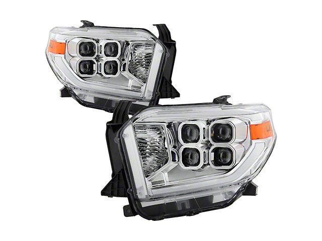 Full LED Headlights; Chrome Housing; Clear Lens (14-17 Tundra; 2018 Tundra SR, SR5)