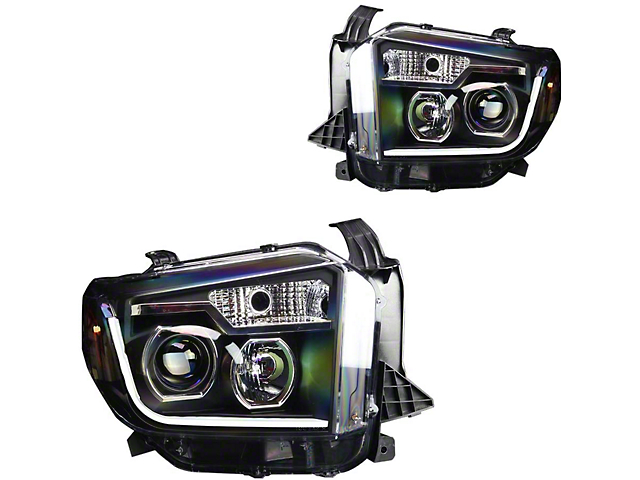 DRL Projector Headlights; Black Housing; Clear Lens (14-21 Tundra w/o Factory LED Headlights)