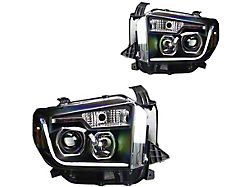 DRL Projector Headlights; Black Housing; Clear Lens (14-21 Tundra w/o Factory LED Headlights)