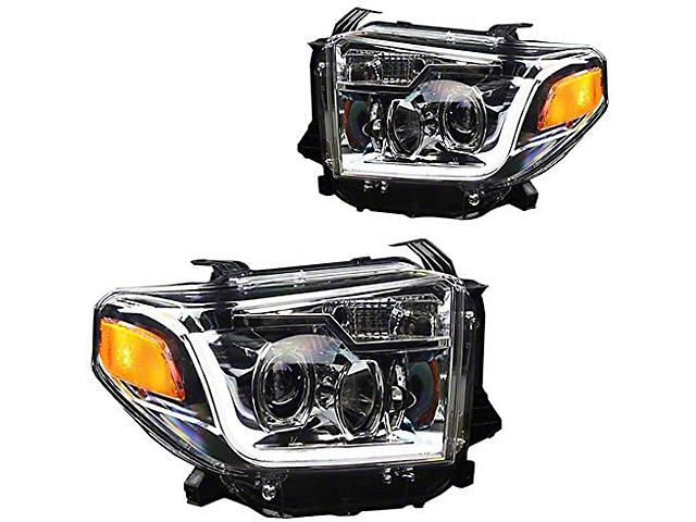 DRL Projector Headlights; Chrome Housing; Clear Lens (14-21 Tundra w/o Factory LED Headlights)