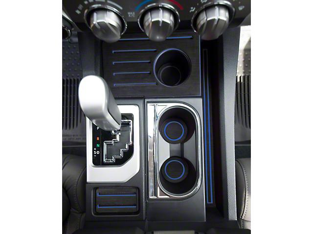 Interior Cup Holder Foam Inserts; Black/Blue (14-21 Tundra w/ Bucket Seats)