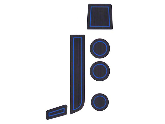 Interior Cup Holder Foam Inserts; Black/Blue (07-13 Tundra w/ Bucket Seats)