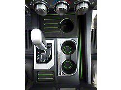Interior Cup Holder Foam Inserts; Black/Green (14-21 Tundra w/ Bucket Seats)