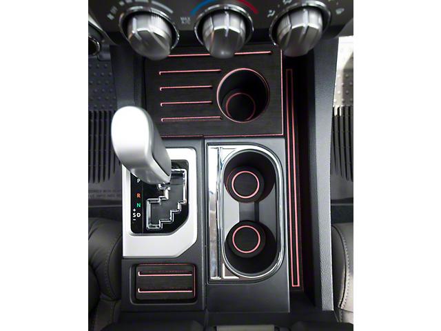 Interior Cup Holder Foam Inserts; Black/Pink (14-21 Tundra w/ Bucket Seats)