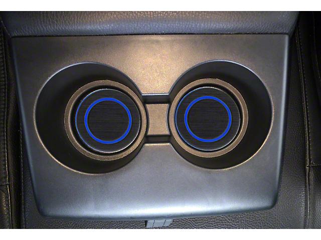Rear Fold Down Seat Cup Holder Foam Inserts; Black/Blue (07-21 Tundra)