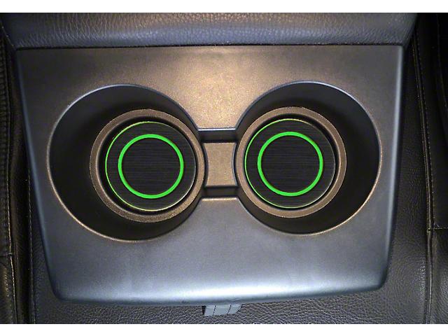 Rear Fold Down Seat Cup Holder Foam Inserts; Black/Green (07-21 Tundra)