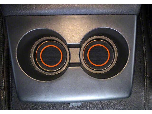 Rear Fold Down Seat Cup Holder Foam Inserts; Black/Orange (07-21 Tundra)
