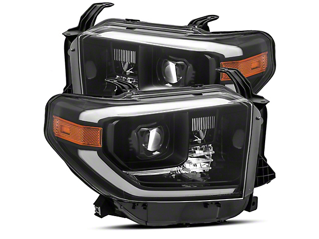 LUXX-Series LED Projector Headlights; Alpha Black Housing; Clear Lens (14-21 Tundra w/ Factory LED Headlights)