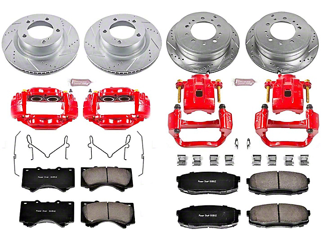 Power Stop Z23 Evolution 5-Lug Brake Rotor, Pad and Caliper Kit; Front and Rear (07-15 Tundra)