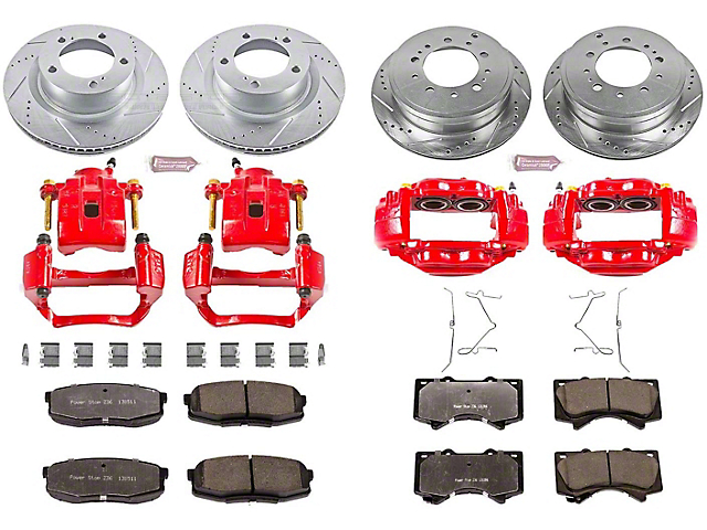 Power Stop Z36 Extreme Truck and Tow 5-Lug Brake Rotor, Pad and Caliper Kit; Front and Rear (07-15 Tundra)