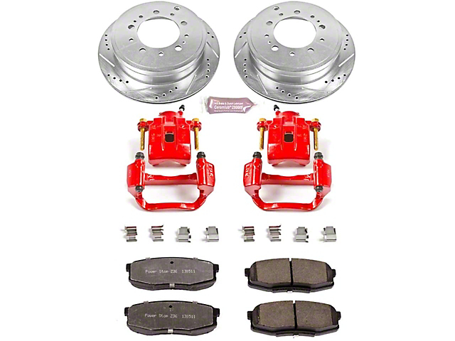 Power Stop Z36 Extreme Truck and Tow 5-Lug Brake Rotor, Pad and Caliper Kit; Rear (07-15 Tundra)