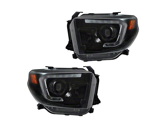 OLED Halo DRL Projector Headlights; Black Housing; Smoked Lens (14-21 Tundra w/ Factory Halogen Headlights)
