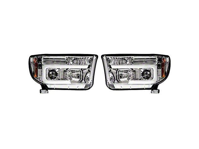 OLED Halo DRL Projector Headlights; Chrome Housing; Clear Lens (07-13 Tundra)