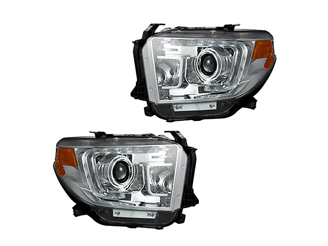 OLED Halo DRL Projector Headlights; Chrome Housing; Clear Lens (14-21 Tundra w/o Factory LED Headlights)