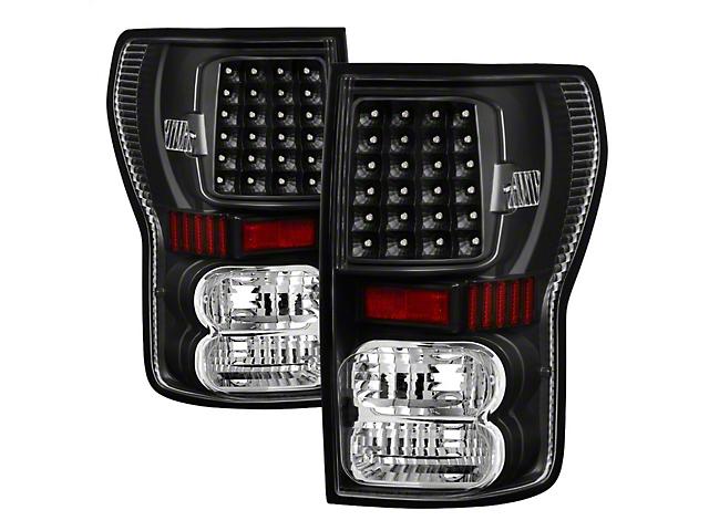 LED Tail Lights; Black Housing; Clear Lens (07-13 Tundra)
