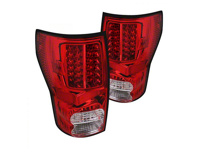 LED Tail Lights; Chrome Housing; Red/Clear Lens (07-13 Tundra)