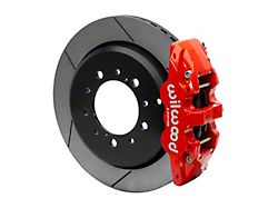 Wilwood AERO4 Rear Big Brake Kit with 14.50-Inch Slotted Rotors; Red Calipers (07-15 Tundra)