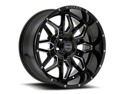 Wicked Offroad W909 Gloss Black Milled 5-Lug Wheel; 20x9; 0mm Offset (14-21 Tundra)