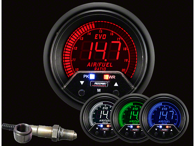 Prosport 52mm Premium EVO Series Wideband Air Fuel Ratio Gauge with With Bosch Sensor; Electrical; Blue/Red/Green/White (Universal; Some Adaptation May Be Required)