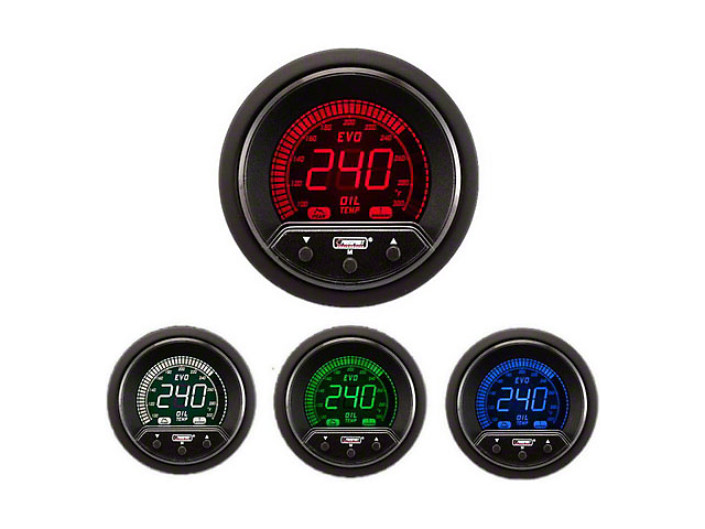 Prosport 52mm Premium EVO Series Oil Temperature Gauge; Electrical; Blue/Red/Green/White (Universal; Some Adaptation May Be Required)