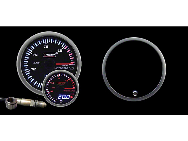 Prosport 52mm JDM Series Dual Display Wideband Air Fuel Ratio Gauge with Bosch Sensor; Electrical; Amber/White (Universal; Some Adaptation May Be Required)