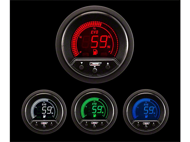 Prosport 52mm Premium EVO Series Fuel Level Gauge; Electrical; Blue/Red/Green/White (Universal; Some Adaptation May Be Required)