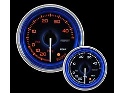 Prosport 52mm Crystal Blue Series Boost Gauge; Electrical; 30 PSI; Amber/White with Blue Halo Ring (Universal; Some Adaptation May Be Required)