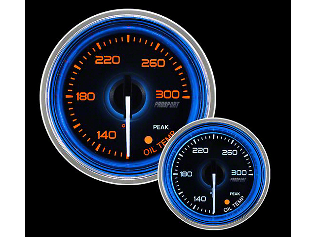 Prosport 52mm Crystal Blue Series Oil Temperature Gauge; Electrical; Amber/White with Blue Halo Ring (Universal; Some Adaptation May Be Required)