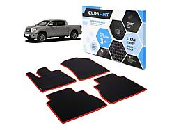 Custom Fit Front and Rear Floor Liners; Black/Red (10-13 Tundra CrewMax)