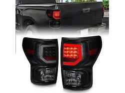 Light Bar Style LED Tail Lights; Black Housing; Smoked Lens (07-13 Tundra)