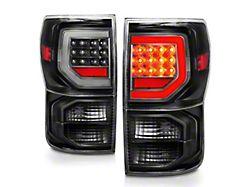 Axial Dual C-Shape LED Tail Lights; Black Housing; Clear Lens (07-13 Tundra)