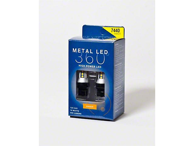 Metal 360 Amber LED Front Turn Signal Light Bulbs; 7440 (16-18 Silverado 1500)