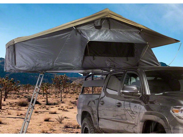 Overland Vehicle Systems Nomadic 3 Extended Roof Top Tent with Annex; Green and Gray