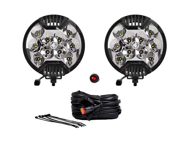 KC HiLiTES 6-Inch SlimLite Round LED Lights; Spot Beam; Black