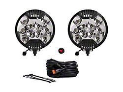 KC HiLiTES 6-Inch SlimLite Round LED Lights; Spot Beam; Black (Universal; Some Adaptation May Be Required)