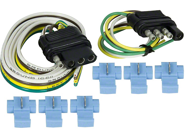 4-Wire Flat Connector Set with Splice-In Connectors; 48-Inch Vehicle Side/ 12-Inch Trailer Side