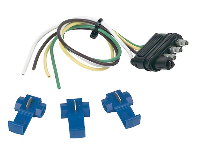 4-Wire Flat Trailer End Connector with Splice-In Connectors; 12-Inches