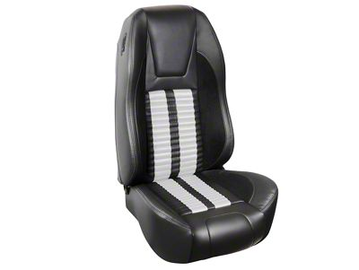 TMI Premium Sport R500 Upholstery & Foam Kit - Black Vinyl & White Stripe/Stitch (94-98 All)