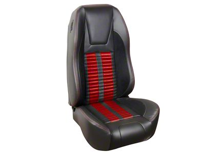 Premium Sport R500 Upholstery & Foam Kit - Black Vinyl & Red Stripe/Stitch (94-98 All)