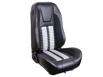 Premium Sport R500 Upholstery & Foam Kit - Black Vinyl & White Stripe/Stitch (99-04 All)