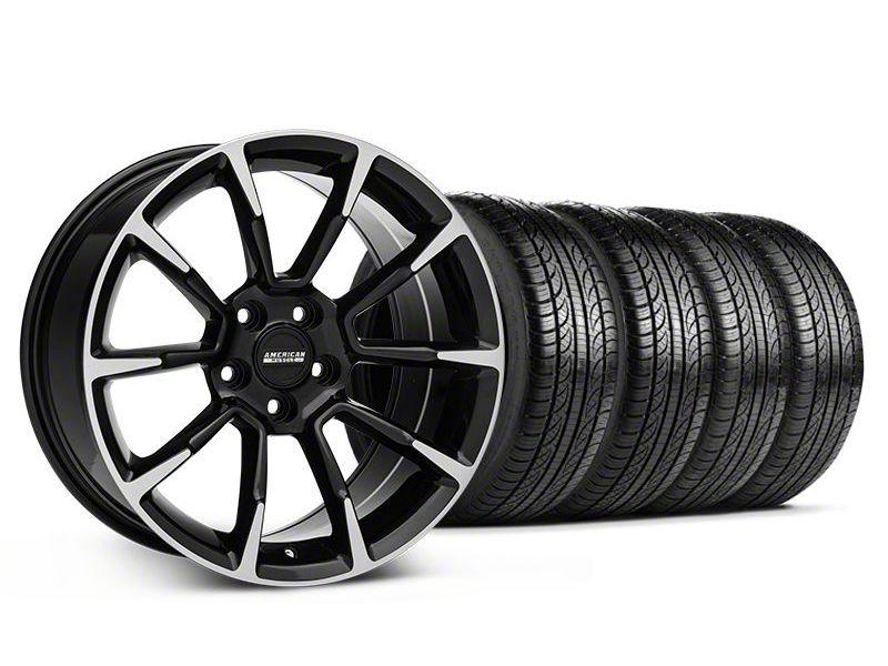 11/12 GT/CS Style Black Machined Wheel & Pirelli Tire Kit - 19x8.5 (05-14 All)