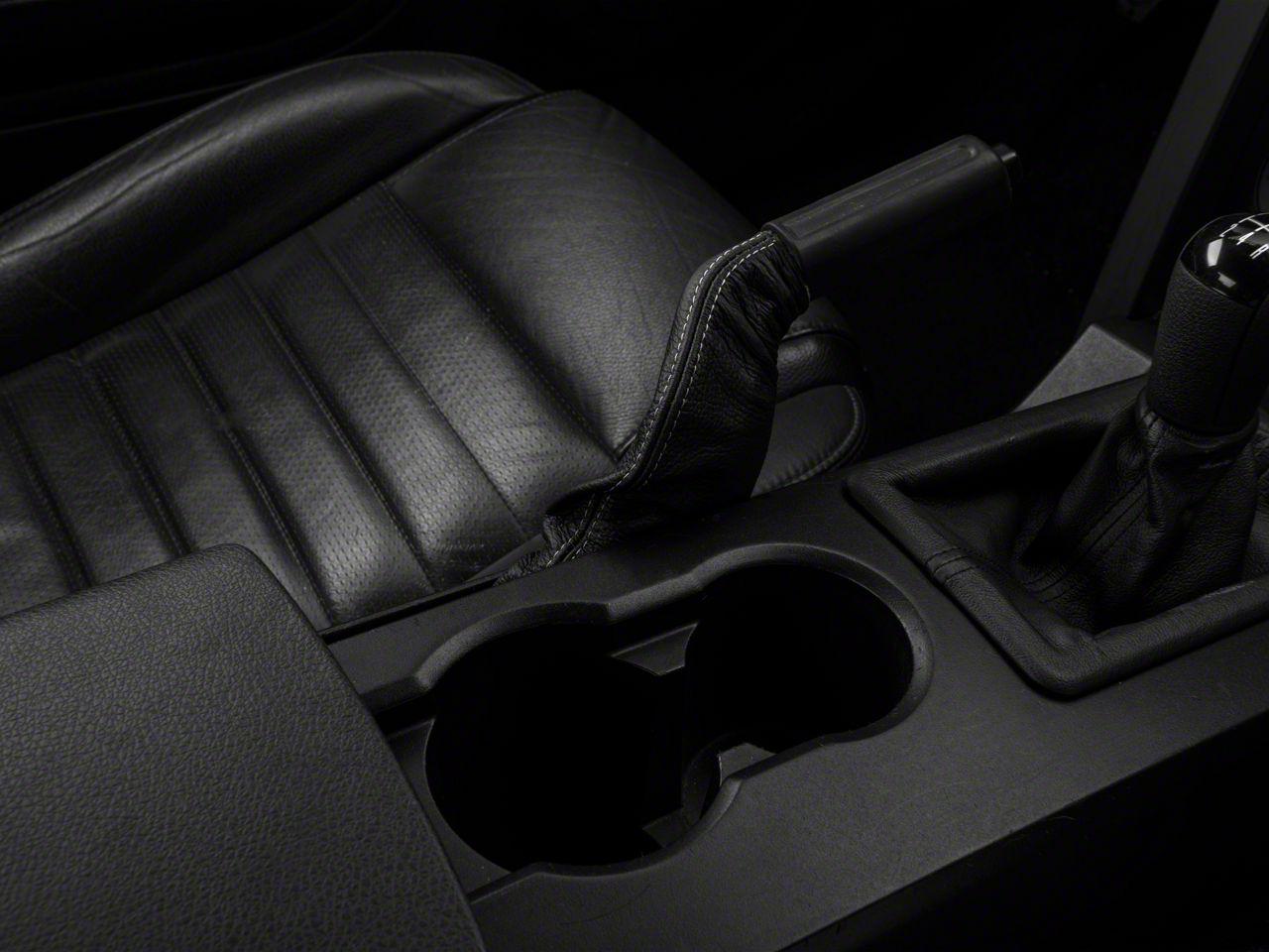 Alterum Premium Black Leather E-Brake Boot - Silver Stitch (05-09 All)