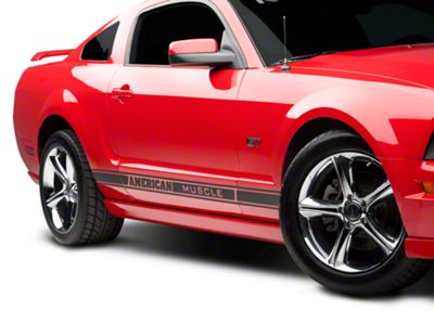 American Muscle Graphics Matte Black Rocker Stripes w/ AmericanMuscle (79-18 All)