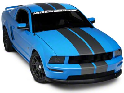 American Muscle Graphics Matte Black Lemans Stripes - 8 in. (79-19 All)