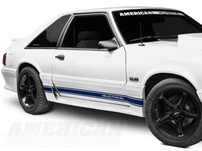 American Muscle Graphics Blue Rocker Stripes w/ Mustang Lettering (79-93 All)