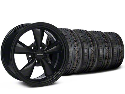 Staggered Bullitt Solid Gloss Black Wheel & NITTO INVO Tire Kit - 18x9/10 (05-10 GT; 05-14 V6)